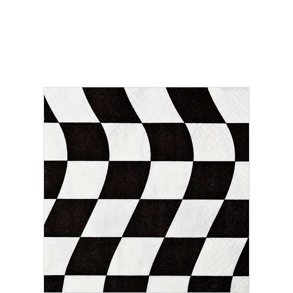 Black & White Checkered Flag Beverage Napkins 16ct Image #1
