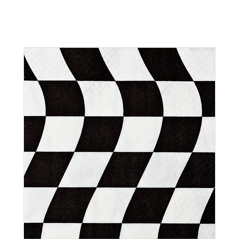 Black & White Checkered Flag Lunch Napkins 16ct Image #1