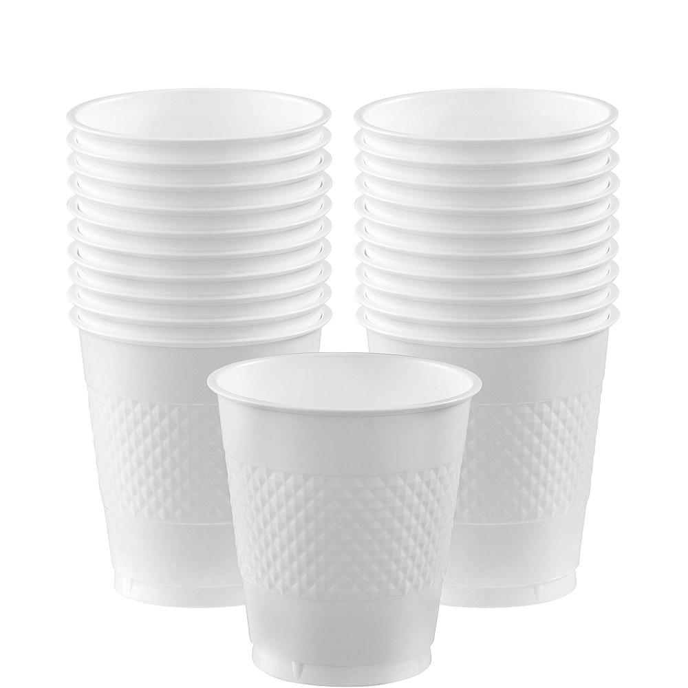 White Plastic Cups 20ct Image #1