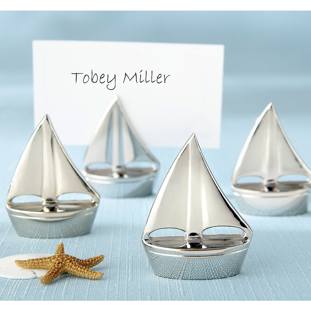 Silver Sailboat Place Card Holders Image #1