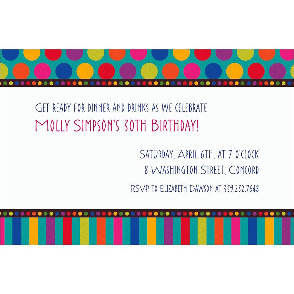 Custom Birthday Dots & Stripes Invitations Image #1