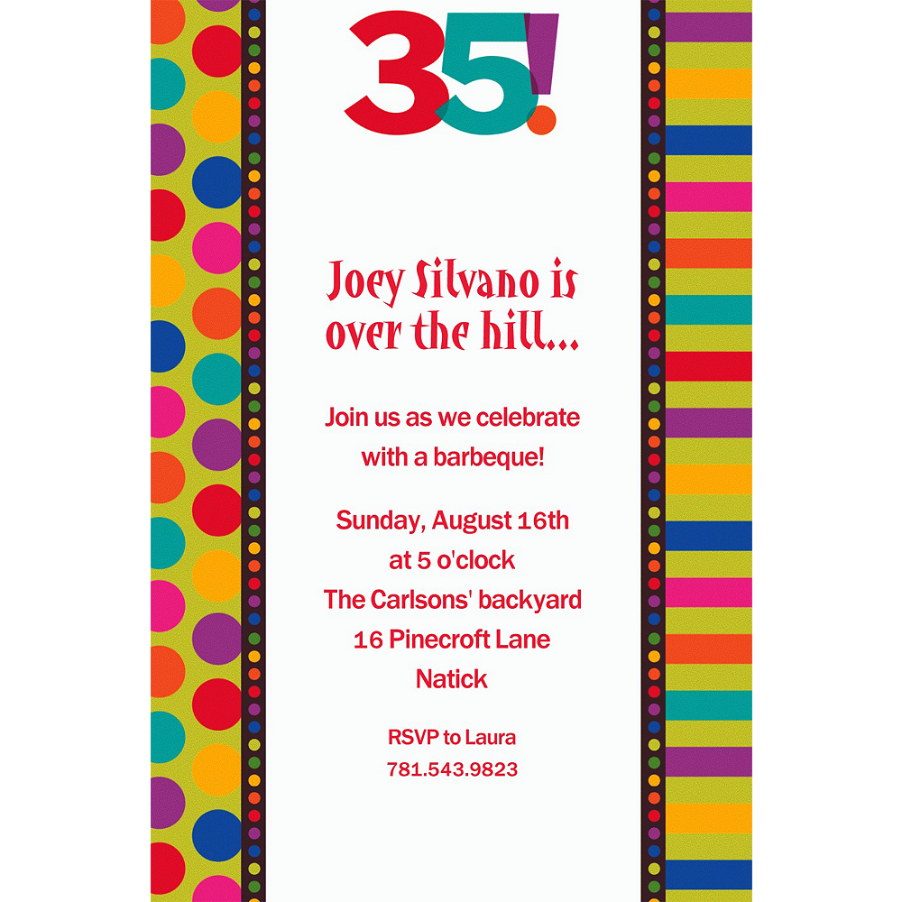 Custom Birthday Dots Stripes 35th Invitations
