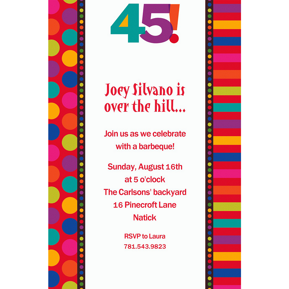 Custom Birthday Dots & Stripes 45 Invitations | Party City