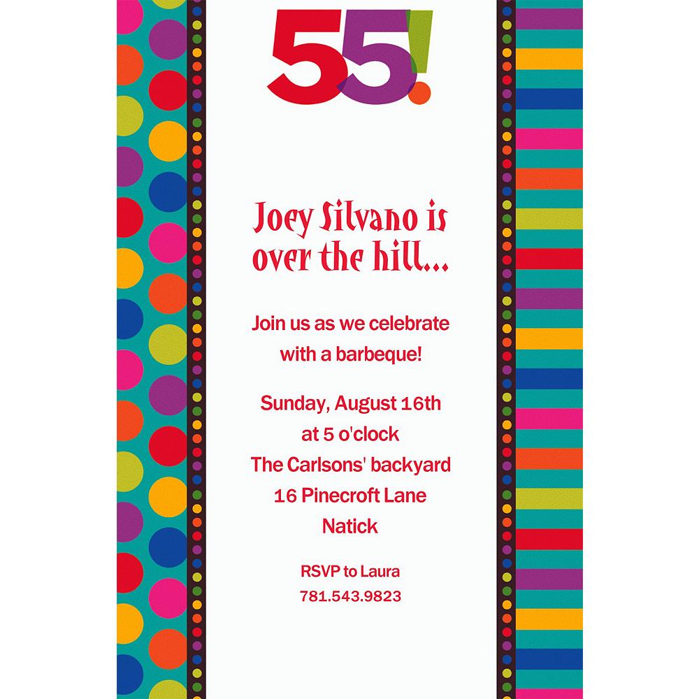 Custom Birthday Dots & Stripes 55th Invitations Image #1