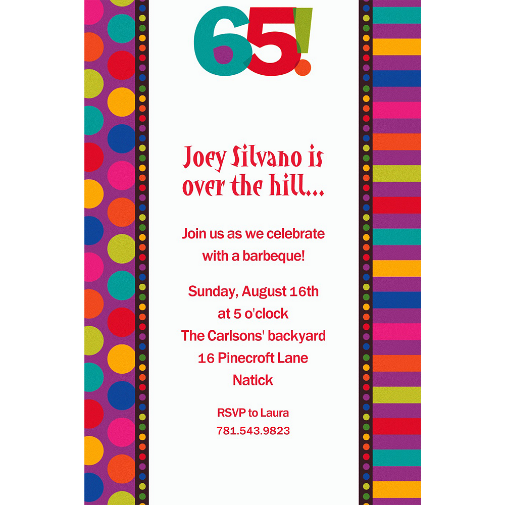 Custom Birthday Dots & Stripes 65th Invitations Image #1