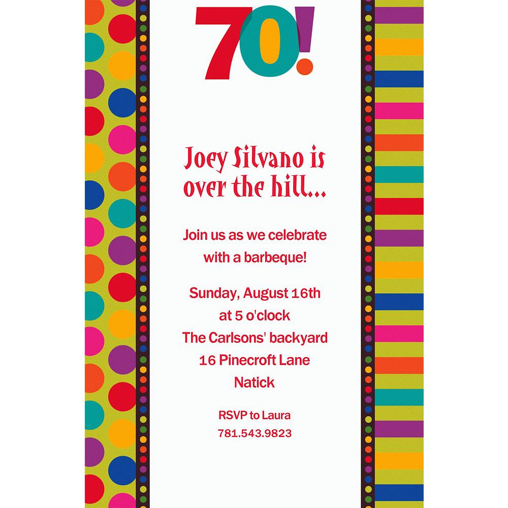 Custom Birthday Dots & Stripes 70th Invitations Image #1