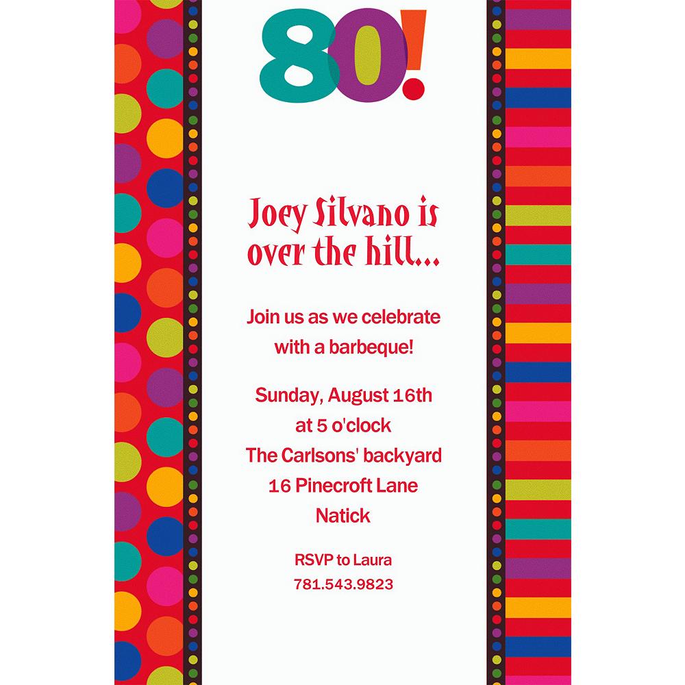 Custom Birthday Dots & Stripes 80th Invitations Image #1