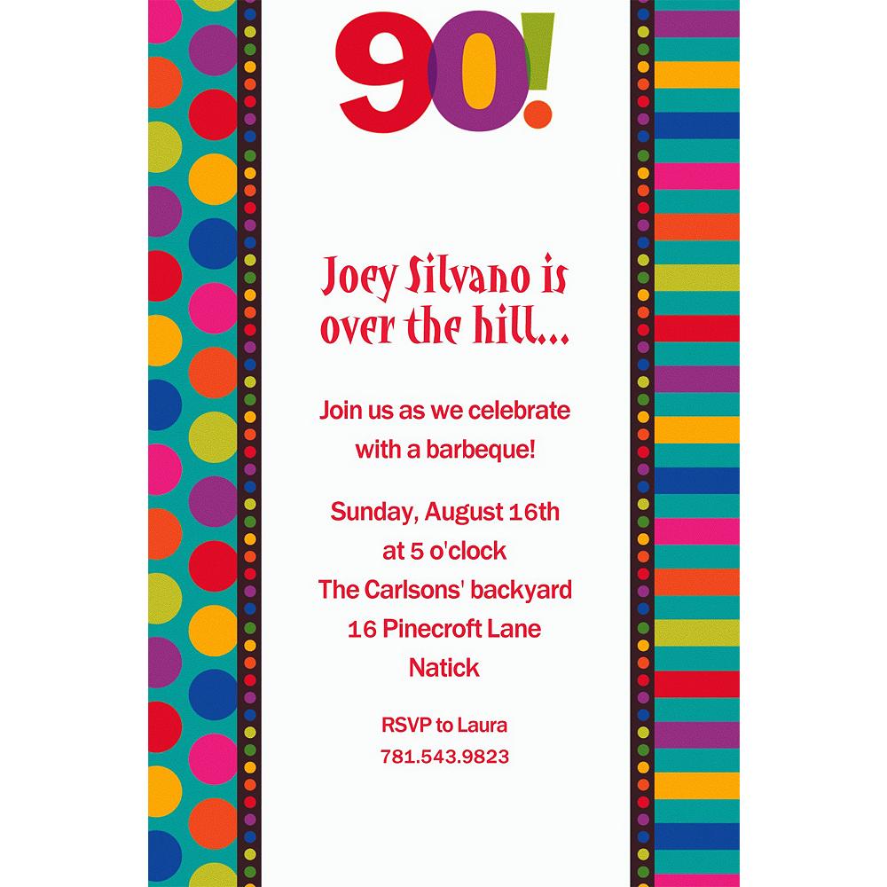 Custom Birthday Dots & Stripes 90th Invitations Image #1