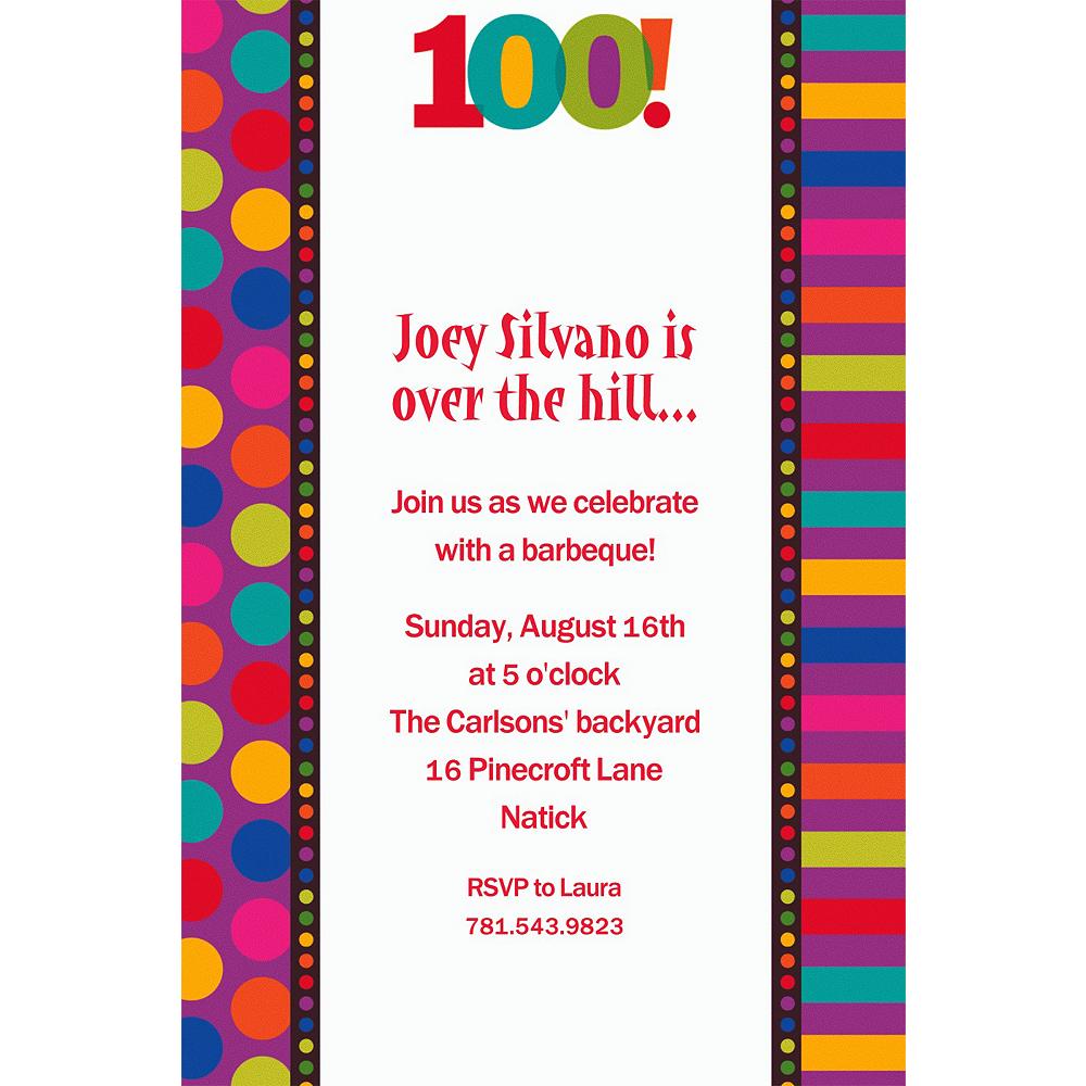 Custom Birthday Dots & Stripes 100th Birthday Invitations Image #1