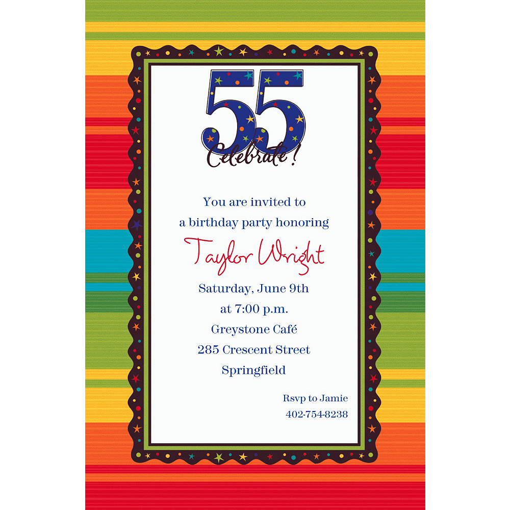 Custom A Year to Celebrate 55th Invitations Image #1