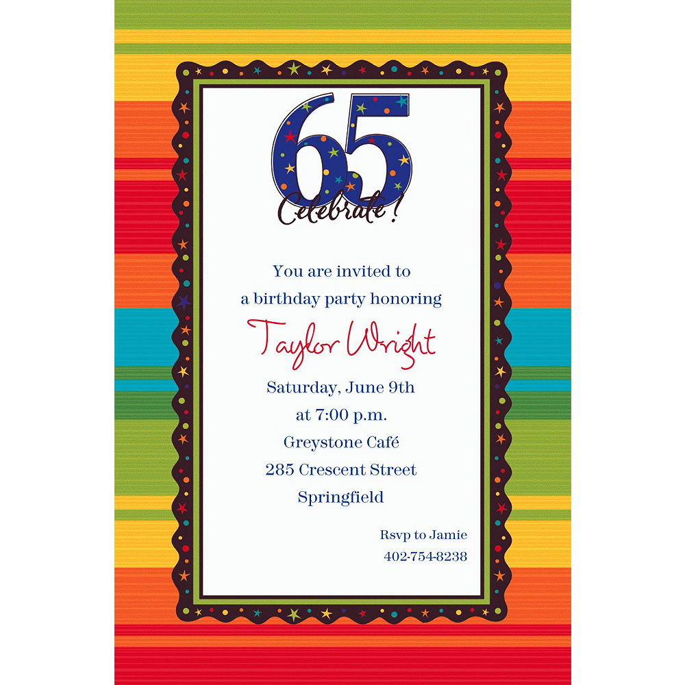 Custom A Year to Celebrate 65th Invitations Image #1
