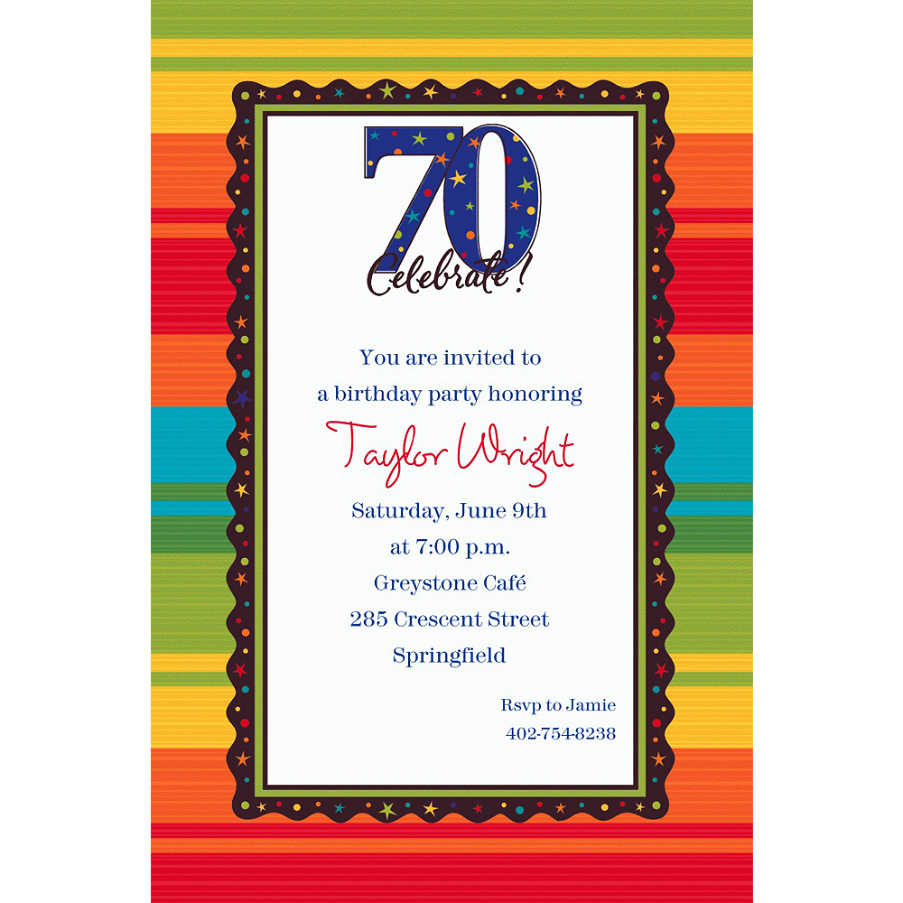 Custom A Year to Celebrate 70th Invitations Image #1