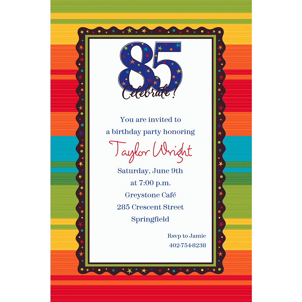 Custom A Year to Celebrate 85th Invitations Image #1