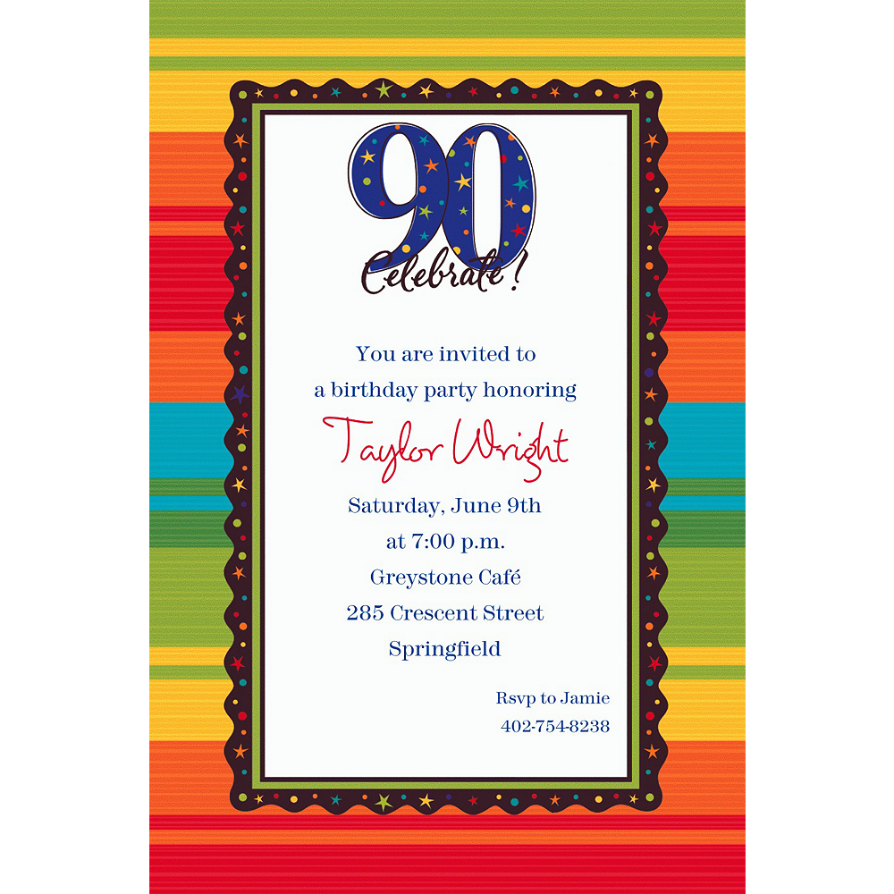 Custom A Year to Celebrate 90th Invitations Image #1