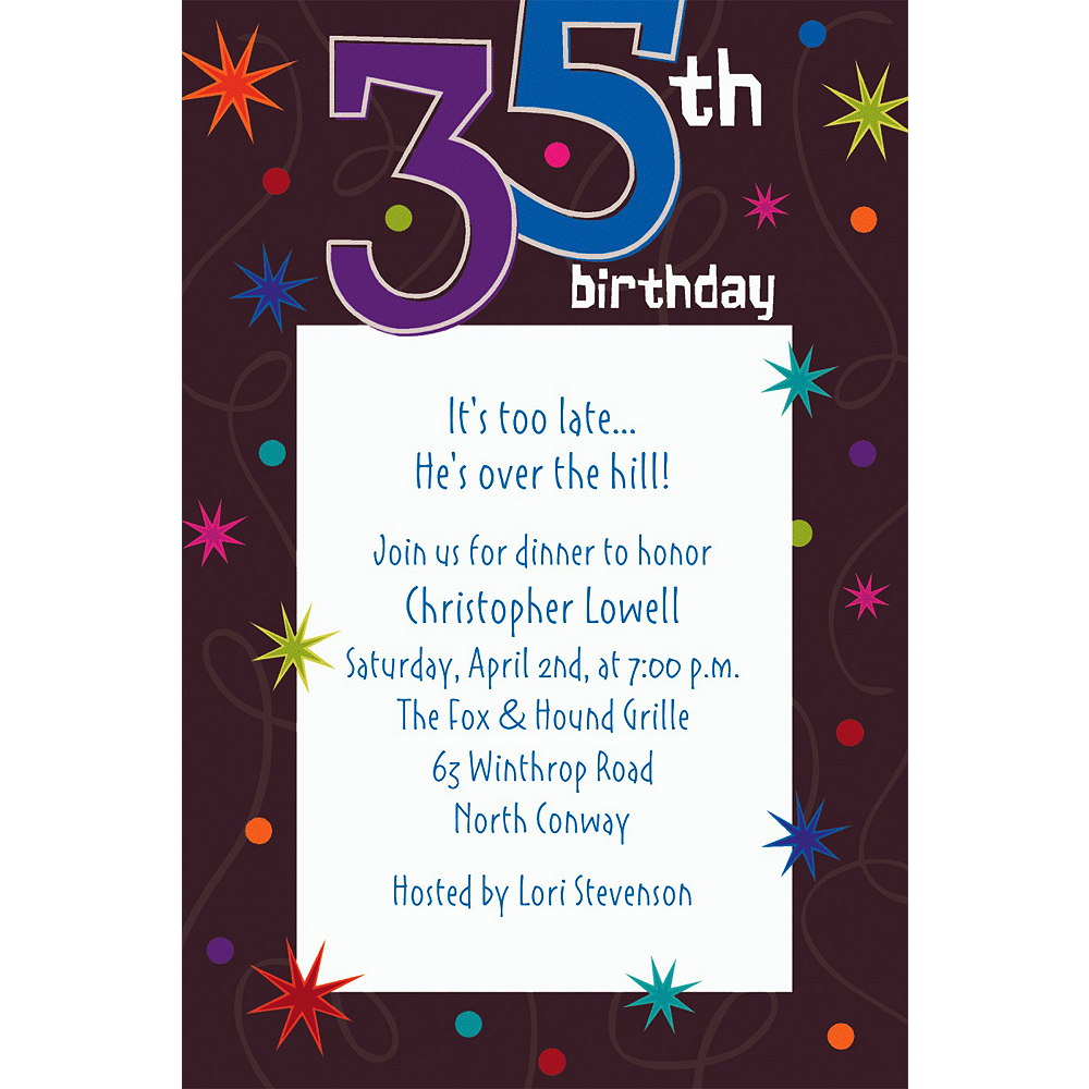 Custom The Party Continues 35th Birthday Invitations Image 1