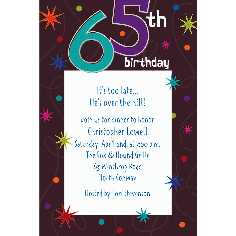 Custom The Party Continues 65th Invitations Image #1