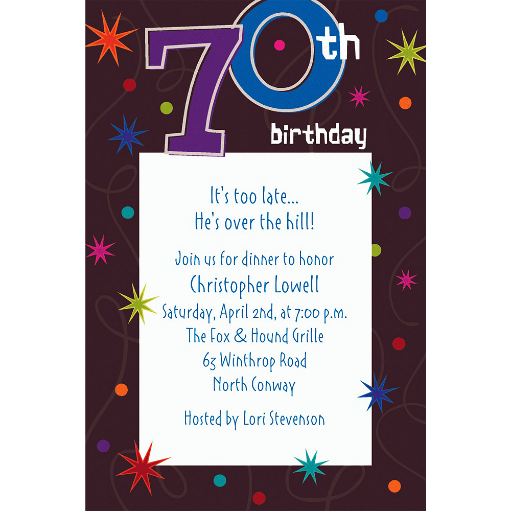 Custom The Party Continues 70th Invitations Image #1