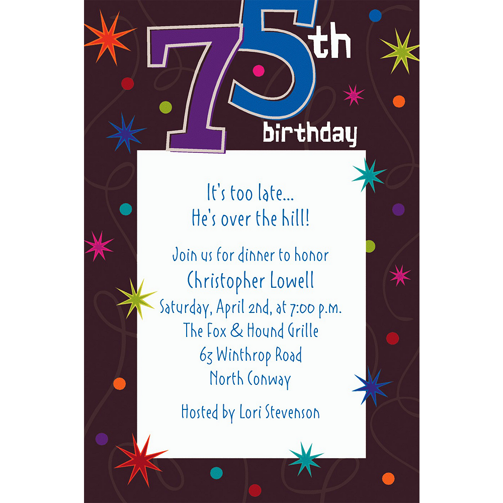 Custom The Party Continues 75th Invitations Image #1