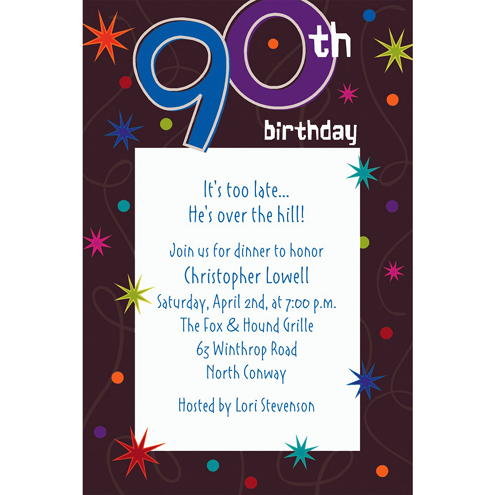 Custom The Party Continues 90th Invitations Image #1