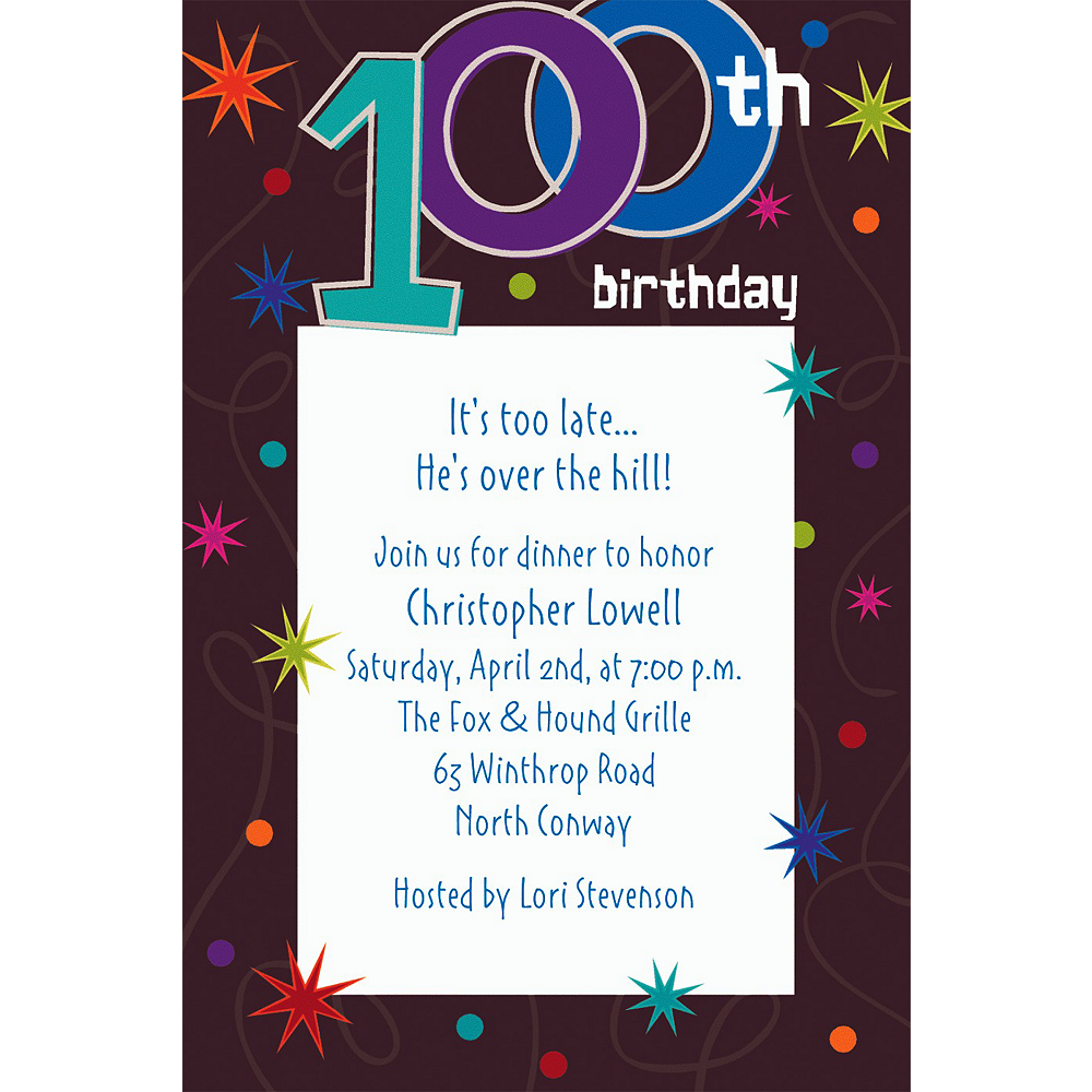 Custom The Party Continues 100th Birthday Invitations Image 1