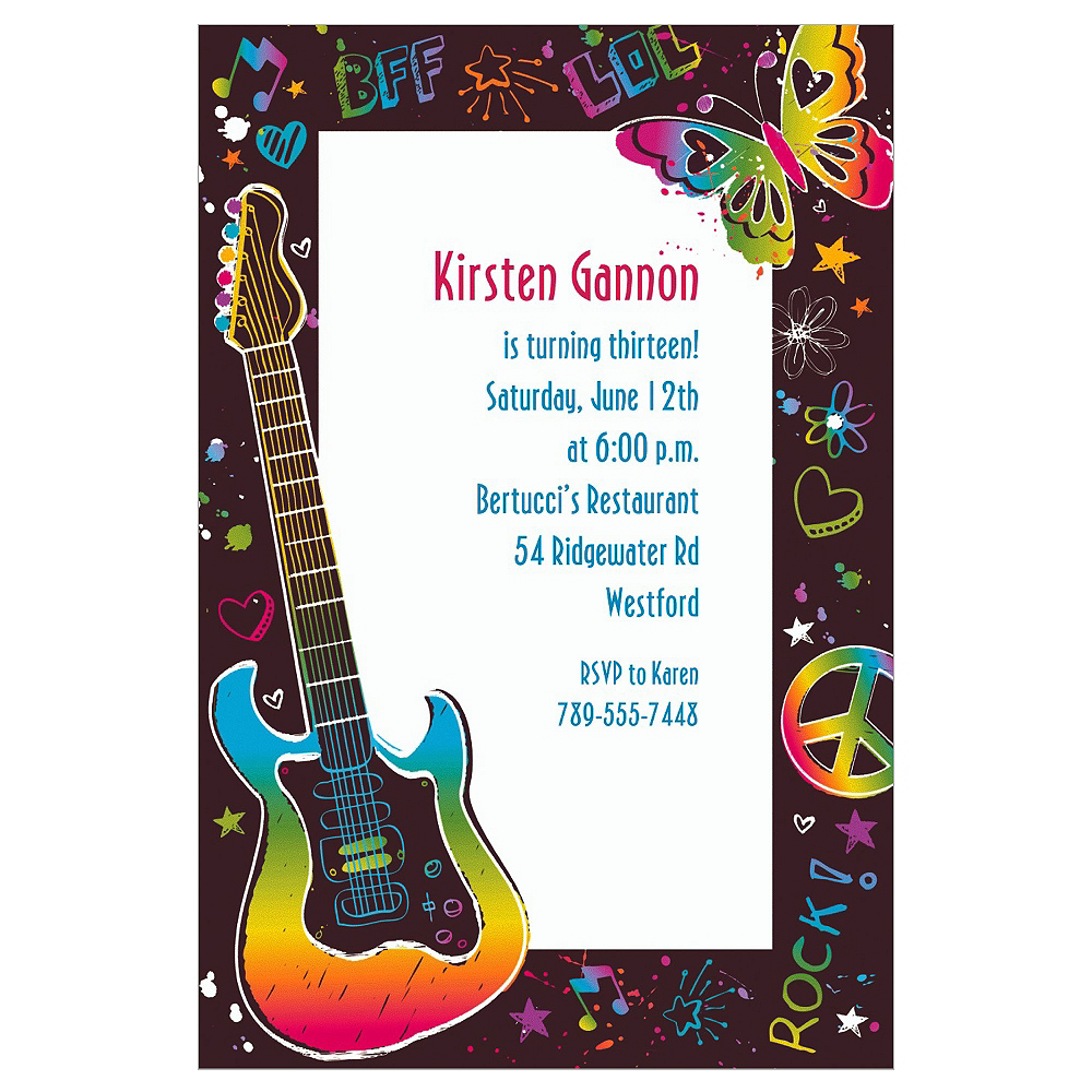 Custom Neon Doodle Invitations | Party City