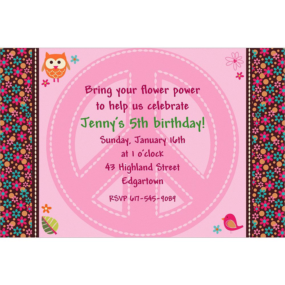 Custom Hippie Chick Invitations Image #1