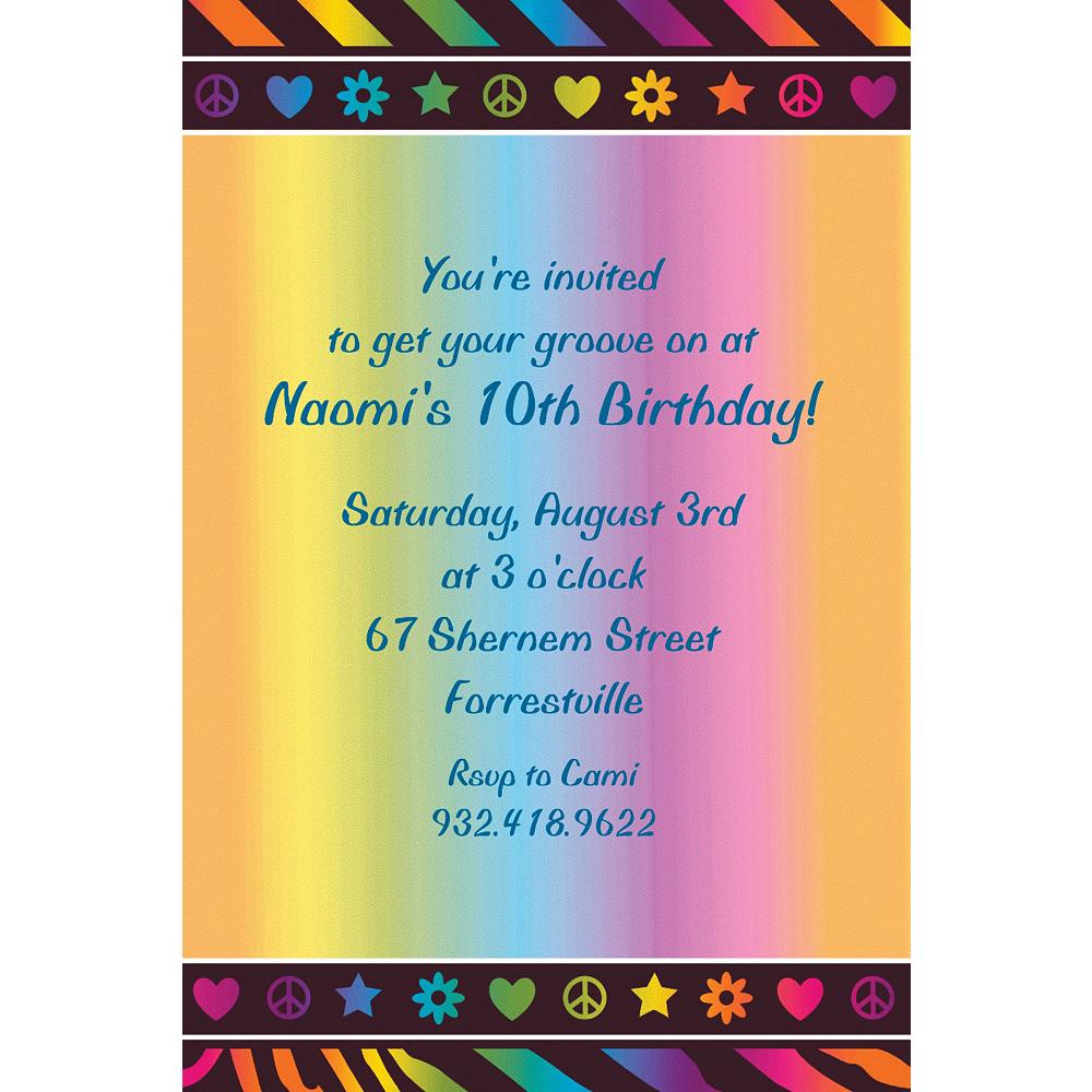 Custom Neon Birthday Girl Invitations Image #1