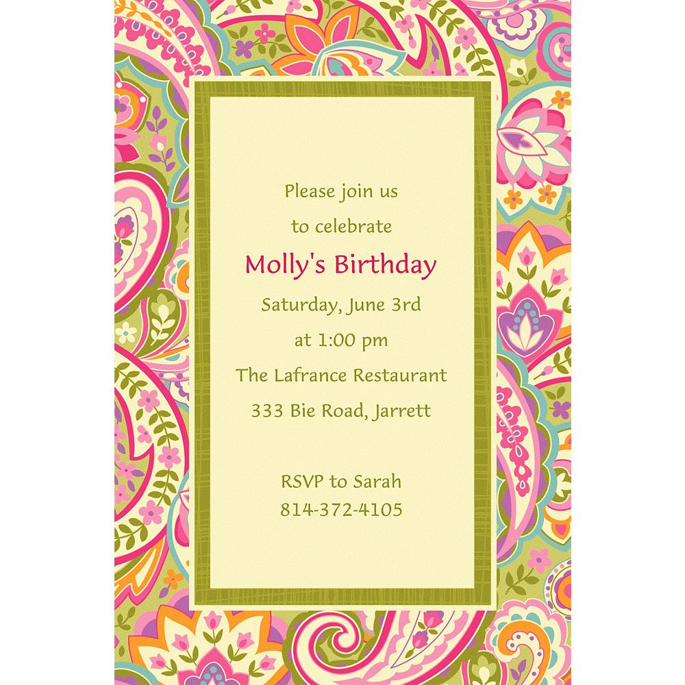 Custom Pretty Paisley Invitations Image #1
