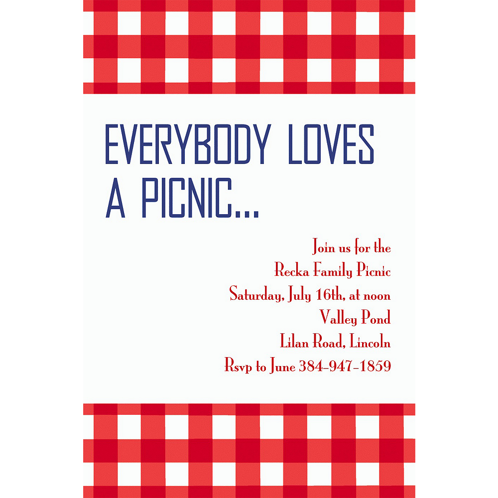 Custom American Summer Red Gingham Invitations | Party City