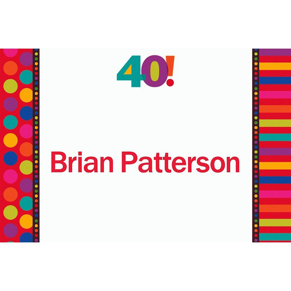 Custom Birthday Dots & Stripes 40th Birthday Thank You Notes Image #1