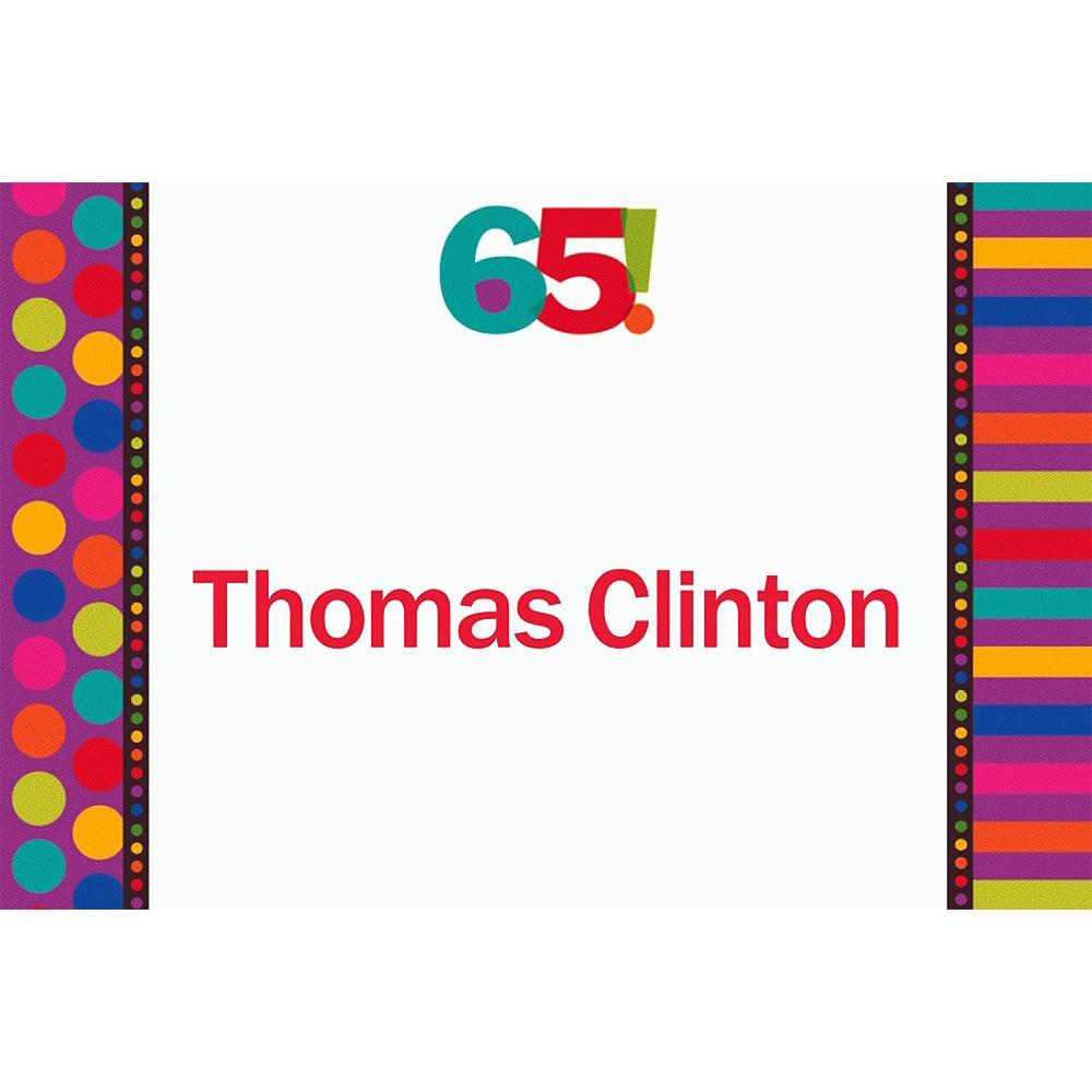 Custom Birthday Dots & Stripes 65th Thank You Notes Image #1