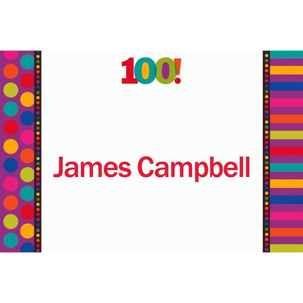Custom Birthday Dots & Stripes 100th Birthday Thank You Notes Image #1