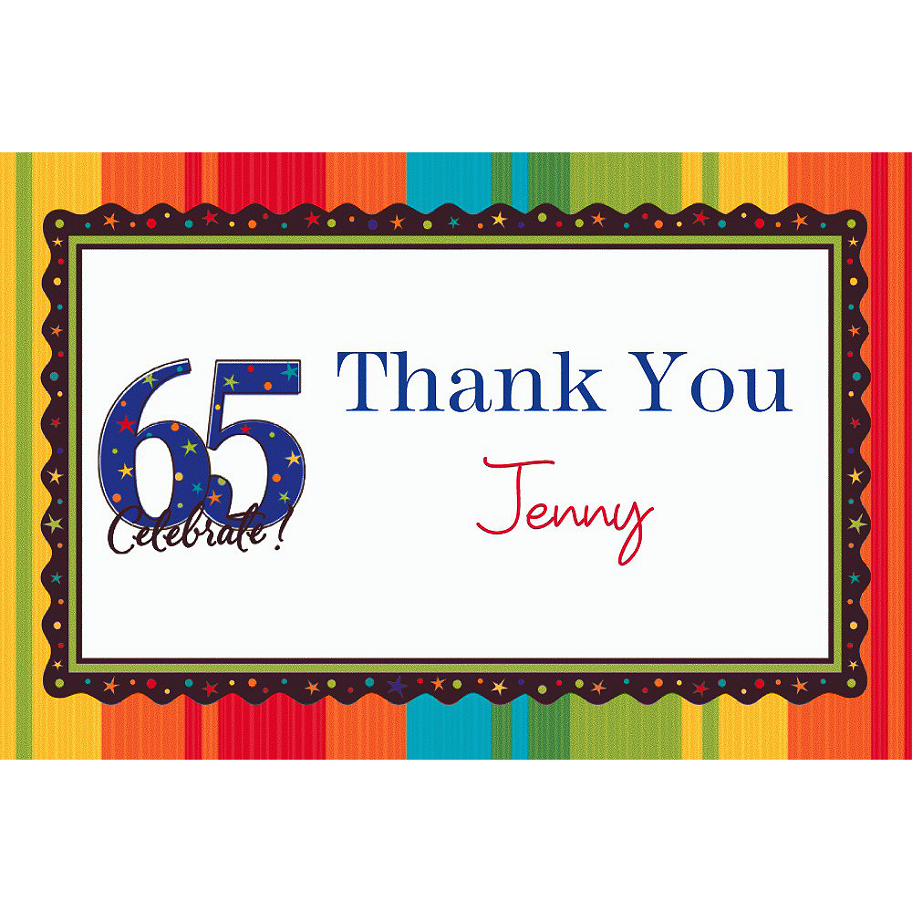 Custom A Year to Celebrate 65th Thank You Notes Image #1