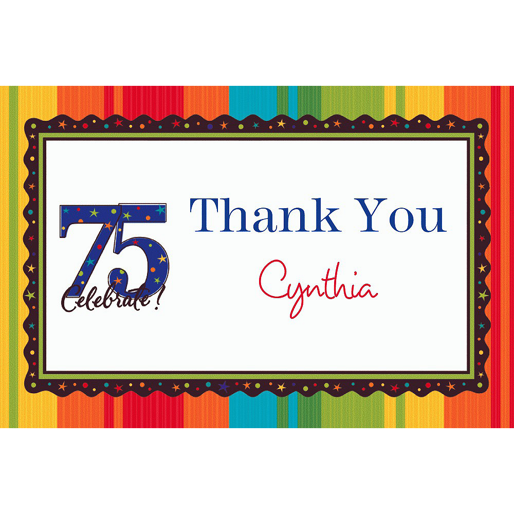 Custom A Year to Celebrate 75th Thank You Notes Image #1