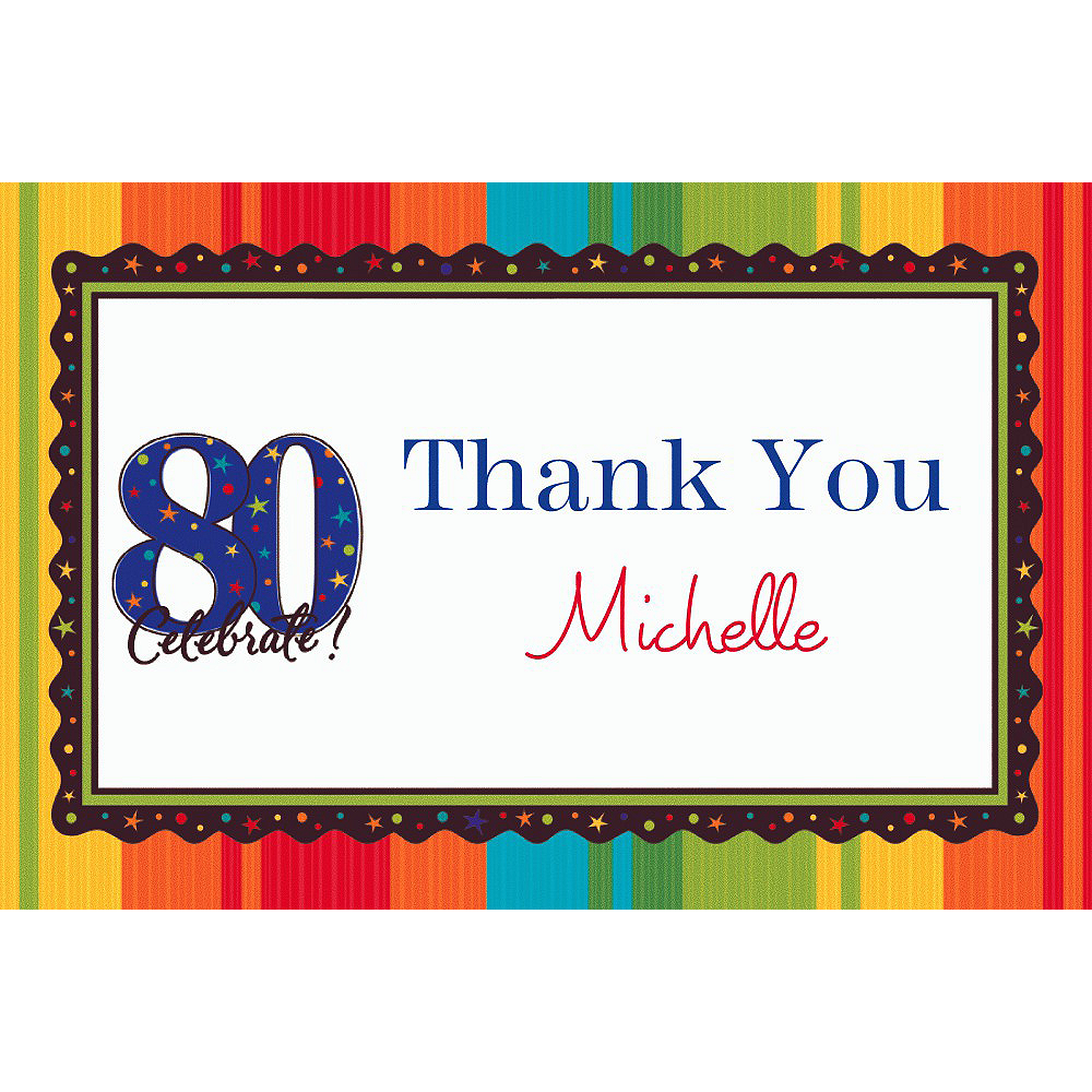 Custom A Year to Celebrate 80th Thank You Notes Image #1