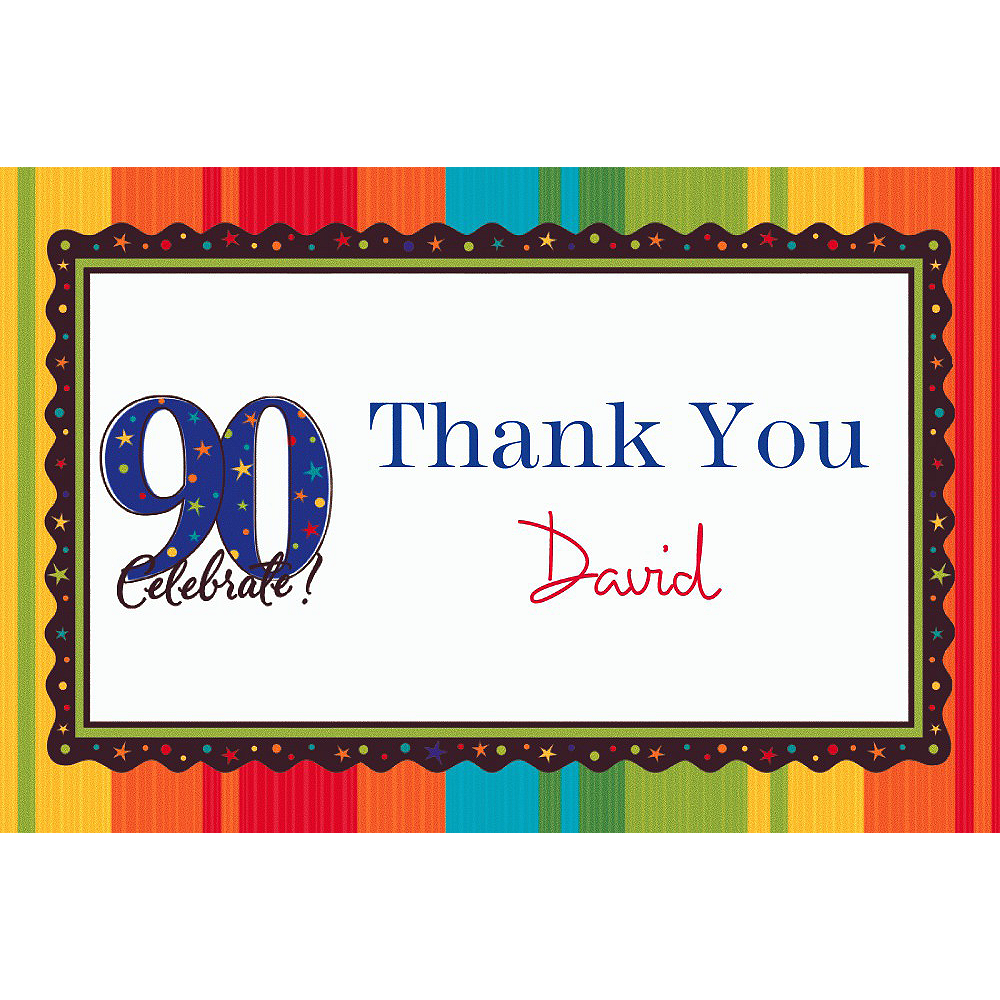 Custom A Year to Celebrate 90th Thank You Notes  Image #1