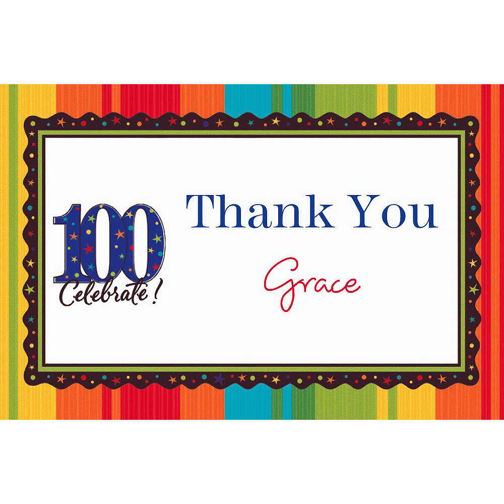 Custom A Year to Celebrate 100th Birthday Thank You Notes Image #1