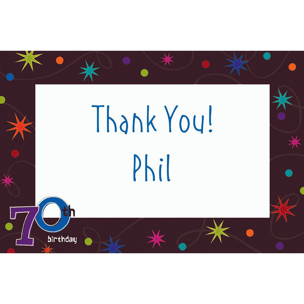 Custom The Party Continues 70th Thank You Notes Image #1