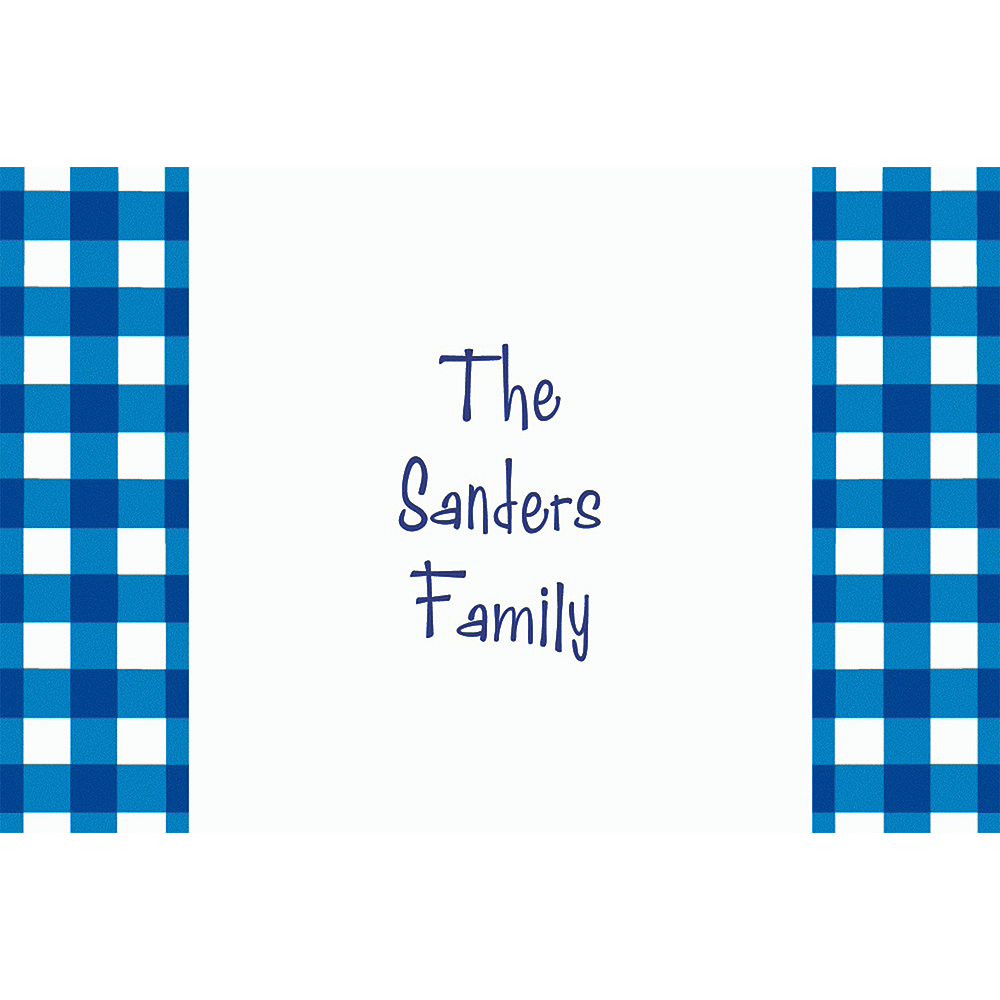 Custom American Summer Blue Gingham Thank You Notes Image #1