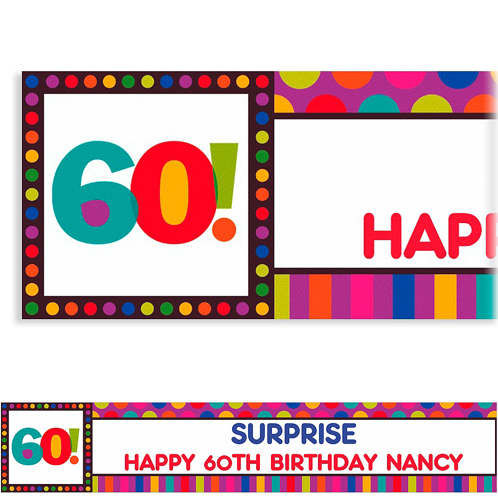 Custom Birthday Dots & Stripes 60th Banner 6ft Image #1