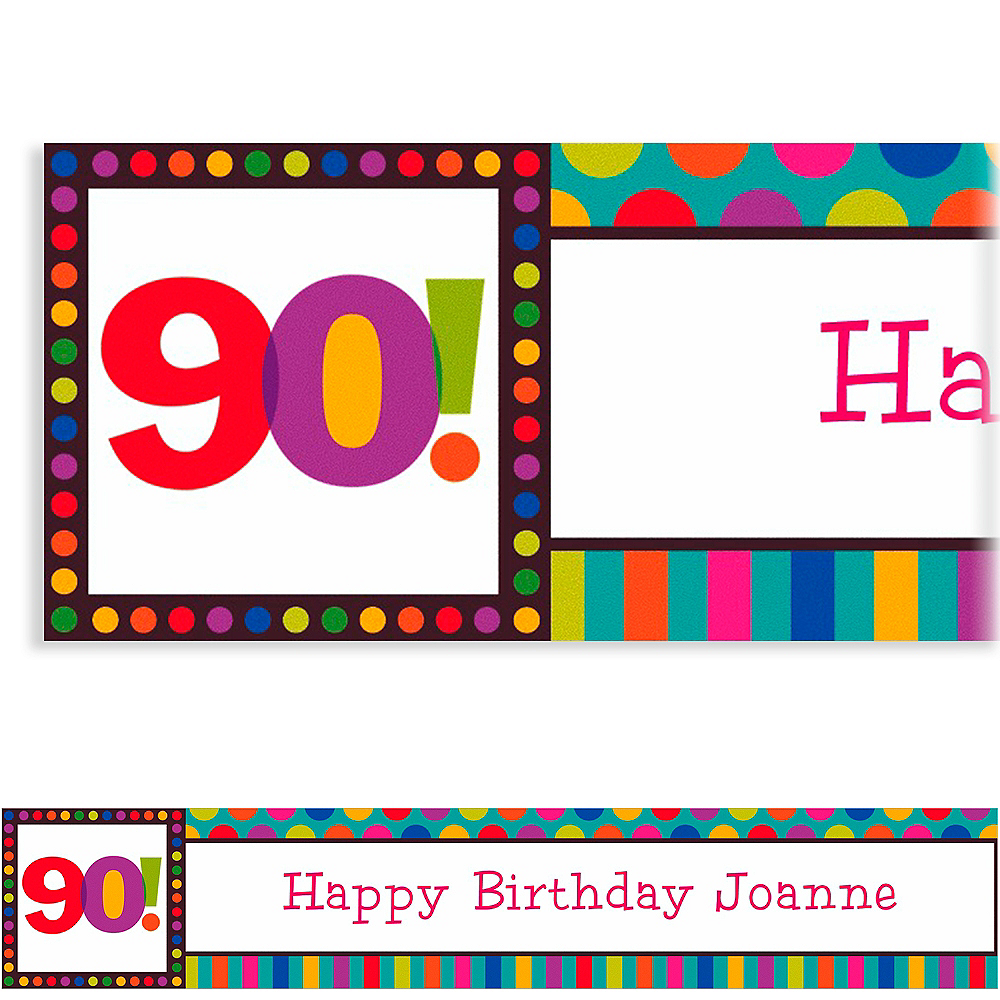 Custom Birthday Dots & Stripes 90th Banner 6ft Image #1