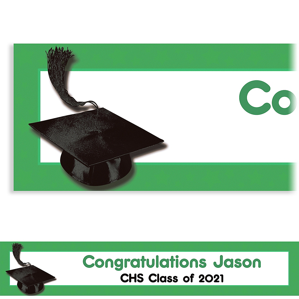 Custom Green Congrats Grad Banner 6ft    Image #1