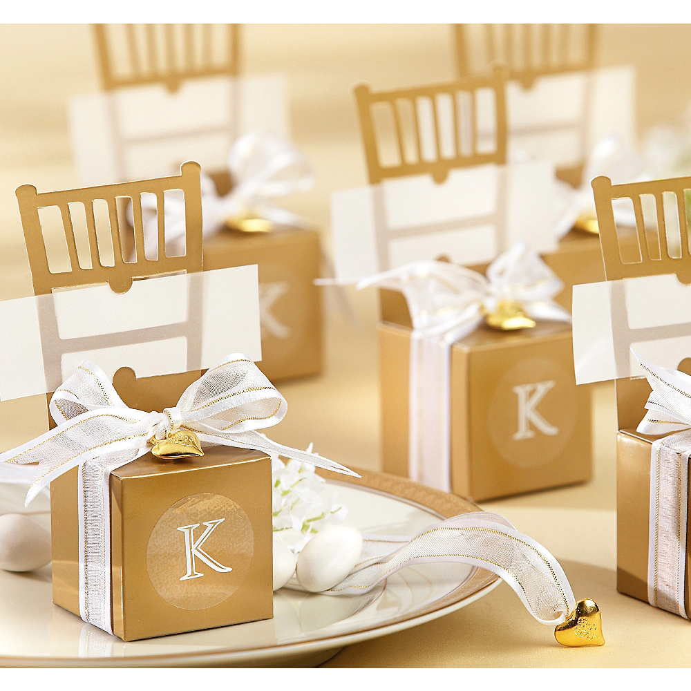 Gold Mini Chair Favor Box