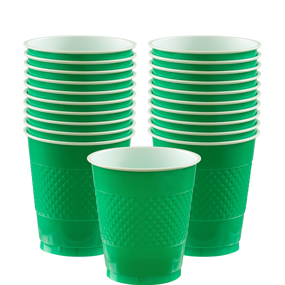 Festive Green Plastic Cups 20ct Image #1
