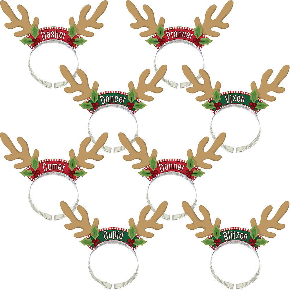 Nav Item for Santa's Reindeer Antlers Headbands 8ct Image #1