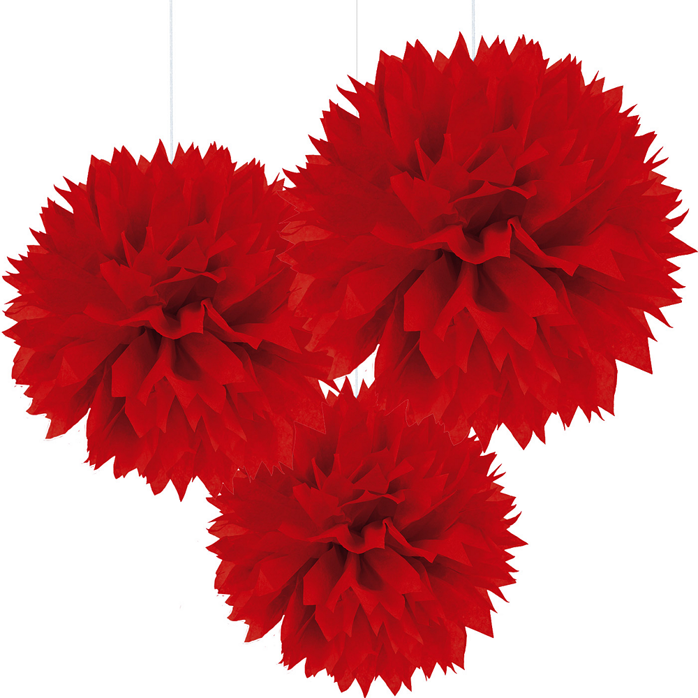 Red Tissue Pom Poms 3ct Image #1