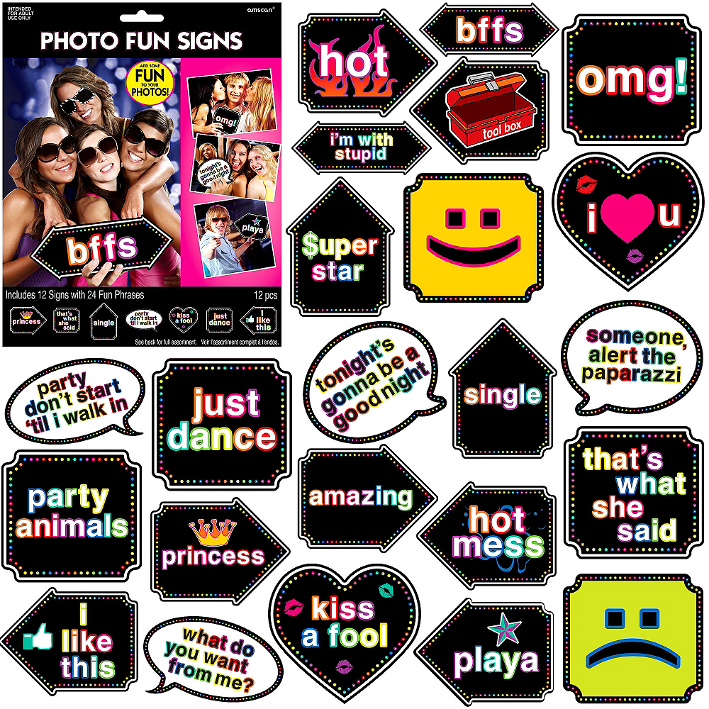 Fun Phrases Photo Booth Props 12ct Image #1