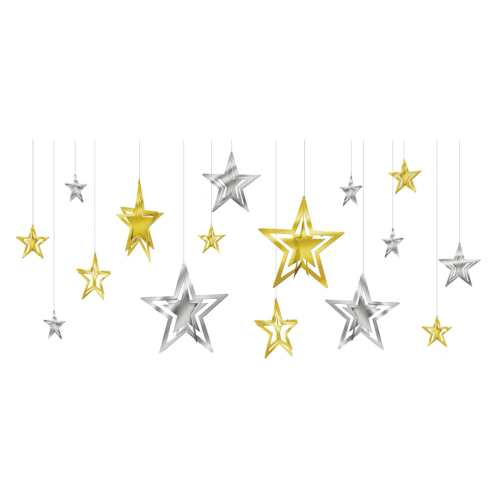 gold silver stars new years star decorations 16ct