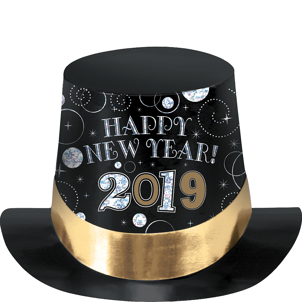 Black, Gold & Silver 2019 New Year's Top Hat Image #1