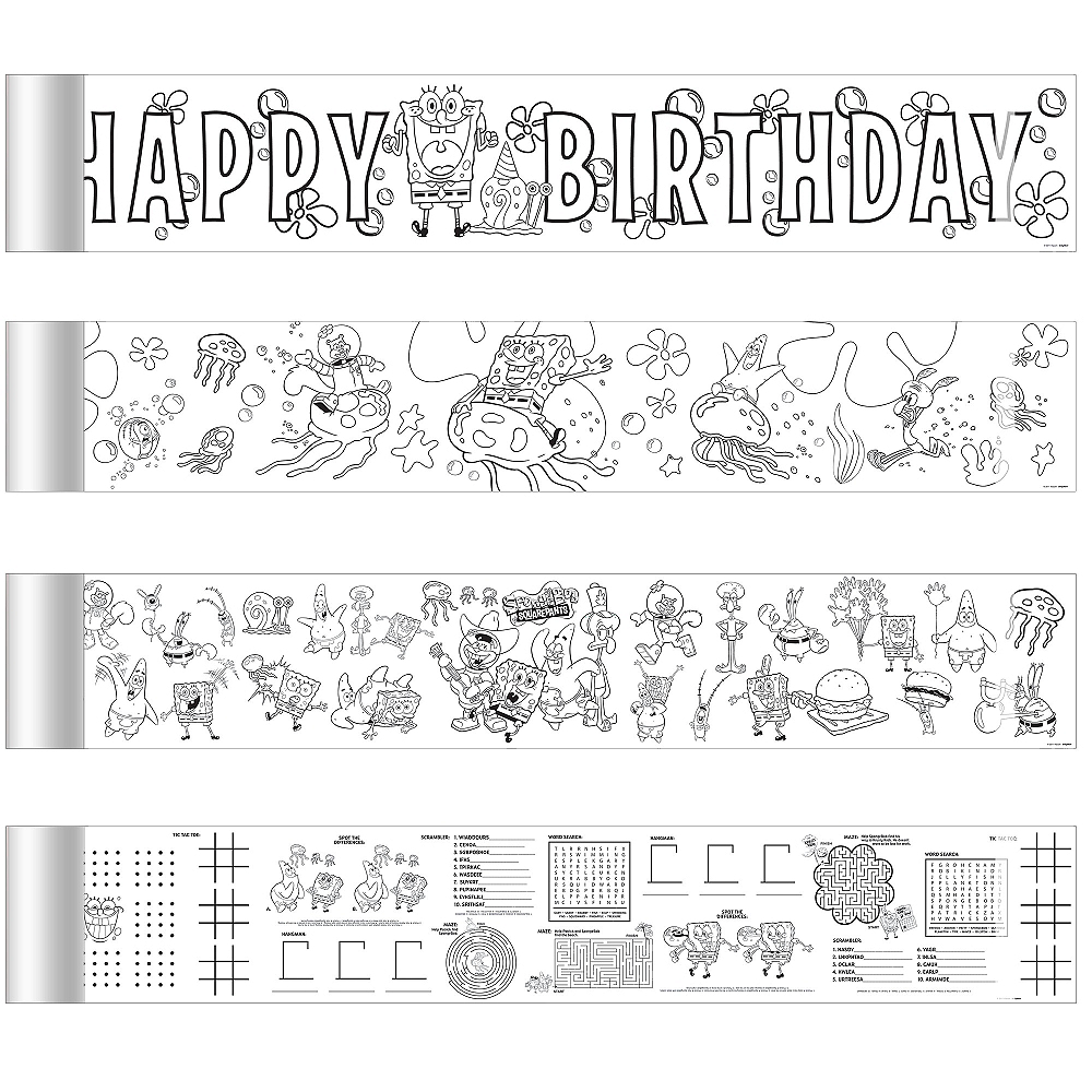 Nav Item for SpongeBob Mini Coloring Banners 4ct Image #1